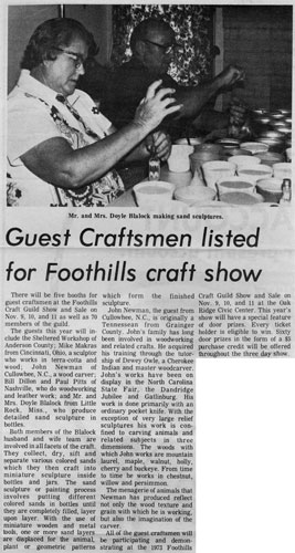 Foothills Craft Show 1973